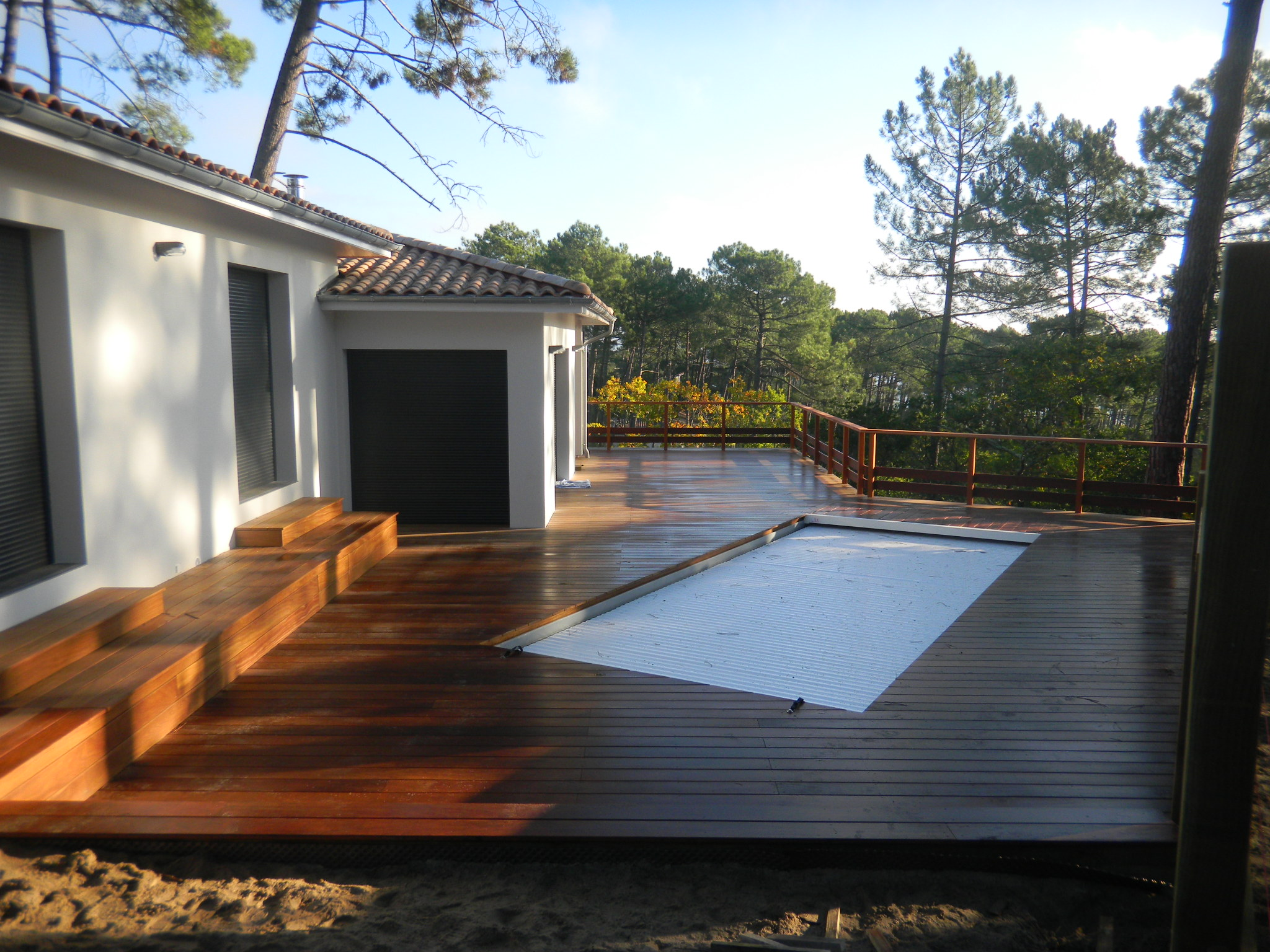 terrasse pilotis construction piscine